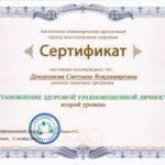 Сертификат становление здоровой успешной личности