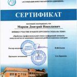 Сертификат «Проблемы профессиональной этики и деформаций личности консультантов по аддикциям»